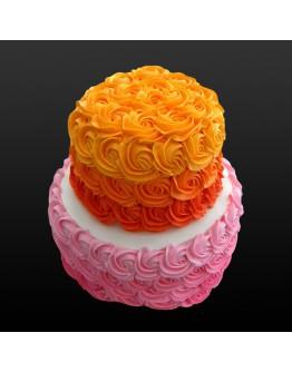 2 Tier - Rosette Cake