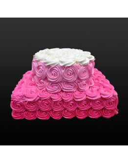 2 Tier - Pink Rosette Cake
