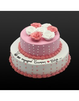 2 Tier - Pink Rosette Wedding Cake 2