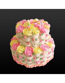 2 Tier - Flower Basket Rosette Cake