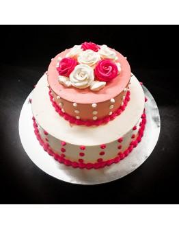 Pink Rosette Wedding Cake